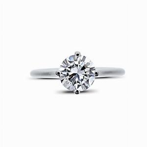 Claw Set Brilliant Cut Engagement Ring 0.96ct EVVS2 GIA